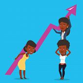 Three african-american business women holding growth graph. Cheerful business team with growth graph poster