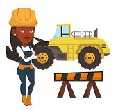African-american builder standing with arms crossed. Confident builder in hard hat. Young builder in poster
