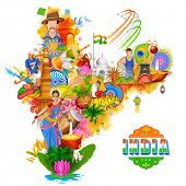 illustration of India background showing its incredible culture and diversity with monument, dance a poster