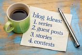 Blogging ideas list (series, guest post, stories, contests) - handwriting on a napkin with a cup of  poster