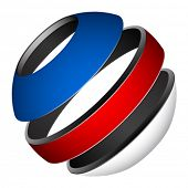 picture of blue white  - vector patriotic tricolor globe - JPG