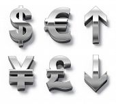 Metal currency symbols and arrows