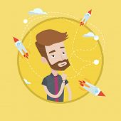 Hipster man looking at flying business rockets. Young man came up with an idea for a business startu poster