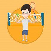 Постер, плакат: Smiling male tennis player holding a racket Tennis player holding a ball Young caucasian cheerful