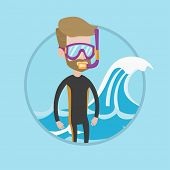 Постер, плакат: Diver standing in diving suit flippers mask and tube Young caucasian diver enjoying snorkeling D