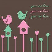 Background with birds on nestling box. Vector illustration