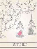 Birds in love. Vector illustration