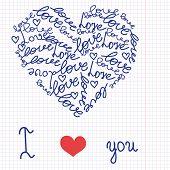 Heart in the school writing-book. Vector.