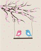 Spring birds couple. Vector valentine card.