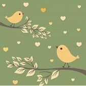 Birds on the tree. Vector illustration.