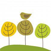 Cute bird on the  tree. Vector illustration.
