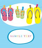 Summer card with family flip-flops . Vector illustration.