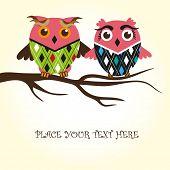 Owls couple in love. Vector.
