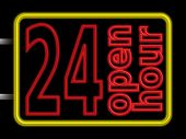 Neon Sign 24h Open