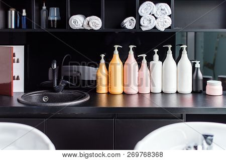 poster of Hairdressers Workplace. Modern Beauty Salon. Hair Salon Interior Business.