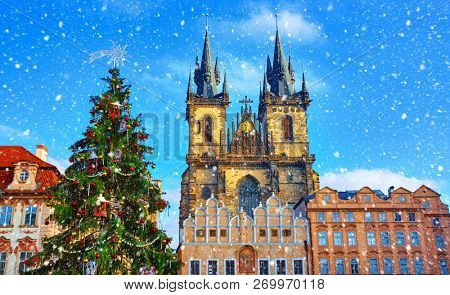 poster of Christmas in Prague, Czech Republic. Green christmas tree at central square old town (Staromestska)