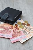 Black Wallet With Euro Currency Banknote And Coins On Natural Wooden Background Closeup View With Co poster