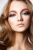 Fashion Model Girl Portrait With Colorful Powder Make Up. Beauty Woman With Bright Color Makeup. Clo poster
