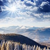 Beautiful and frosty winter landscape in the mountains
