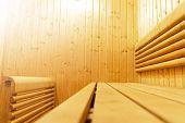 Interior Of Finnish Sauna, Classic Wooden Sauna, Finnish Bathroom. Wooden Sauna Cabin. Wooden Room.  poster