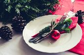 Family Together Christmas Celebration Dinner Table Concept. Festive Place Setting For Holiday Dinner poster