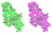 Sketch Serbia Letter Text Map, Republic Of Serbia - In The Shape Of The Continent, Map Serbia - Gree poster