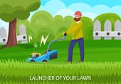 Garden Equipment In Lawn. Lawnmower Concept. Natural Growth And Plant Care. Gardener Man Mows A Lawn poster