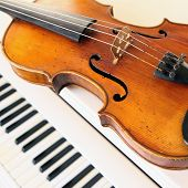 violin and piano keys