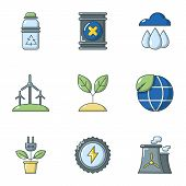 Pure Air Icons Set. Flat Set Of 9 Pure Air Vector Icons For Web Isolated On White Background poster