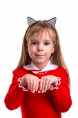 Happy Smiling Blond Girl In A Red Dress With A Cat Ears Band On The White Isolated Background, Holdi poster
