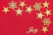 Christmas abstract background with gold glitter star bauble decorations and joy sign on red with cop poster