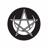 Pentagram With Crescent Moon Vector Symbol. Pagan Pentagram Icon. poster