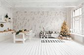 Loft Style Apartment, Large Spacious Living Room With Dining Table And Kitchen. Room With Christmas  poster
