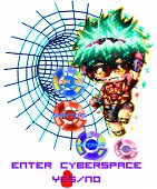 Eliel, Is An Anime And Futuristic Character And Is Entering The Virtual Cyberspace, To Simulate Cybe poster