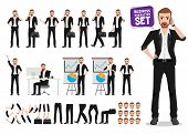 Businessman Vector Character Set. Male Business Person Cartoon Character Creation With Poses Holding poster