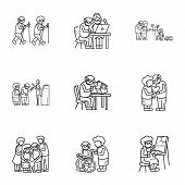 Older Person Lifestyle Icon Set. Outline Set Of 9 Older Person Lifestyle Vector Icons For Web Design poster