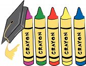 Crayons 5 Different Colors W Graduation Cap.Eps