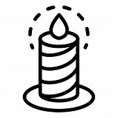 Burning Candle Icon. Outline Burning Candle Icon For Web Design Isolated On White Background poster
