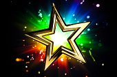 Gold star against multicolor shiny background