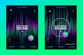 Techno Music Poster. Wave Flyer For Dance Event Promotion. Banner For Techno Sound Performance. Elec poster