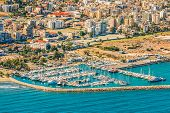 Sea Port City Of Larnaca, Cyprus. View From The Aircraft To The Coastline, Beaches, Seaport And The  poster