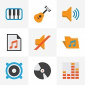 Music Icons Flat Style Set With Silent, Archive, Frequency And Other Quiet Elements. Isolated  Illus poster