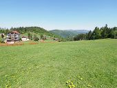 Countryside Housing Estate And Countryside Landscapes At Beskid Mountains Range In European Salmopol poster