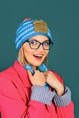 Fashionable Girl In Warm Clothing. Woman In Woolen Beanie. Autumn/winter Clothes. Fashion Happy Woma poster