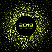 New Year 2019 Card Background. Green Glitter Paper Confetti. Glistening Green Disco Lights. Glow Cir poster