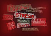 Stress Message Surrounded By Various Christmas And Holiday Themed Notes poster