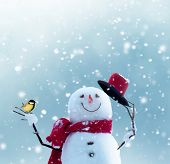 Merry christmas and happy new year greeting card with copy-space.Happy snowman standing in winter ch poster