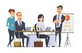 Group Managers Workplace. Businessman Team Working Expert Analyse Professional Specialists People At poster