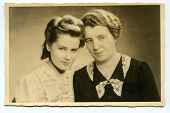 Vintage portrait of mother and daughter (twenties)