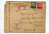 GERMANY - CIRCA 1940: vintage envelope from register mail with German Reich canceled postal stamps, showing President Paul von Hindenburg, with word